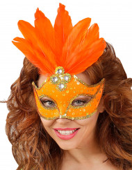 Mascarilha cor de laranja com penas mulher