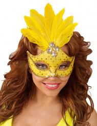 Mascarilha amarela com penas mulher