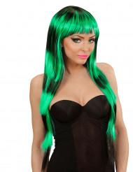 Peruca longa com franja preta e verde para mulher