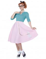 Disfarce anos 50 cor-de-rosa mulher