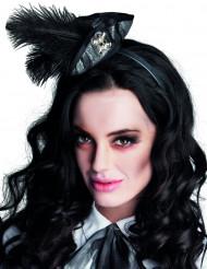 Mini tricorne pirata com penas negras - mulher
