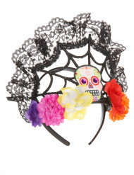 Bandolete tiara com flores coloridas mulher Dia de los muertos