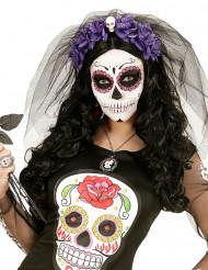 Bandolete de flores lilás Dia de los Muertos mulher