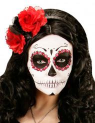 Bandolete flores vermelhas e pretas mulher Dia de los muertos