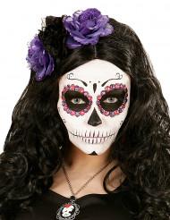 Bandolete flores lilás e pretas mulher Dia de los muertos