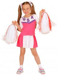 Disfarce Pompom girl cor-de-rosa e branca menina