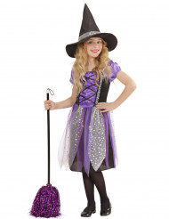 Disfarce de bruxa roxo com estrelas menina Halloween