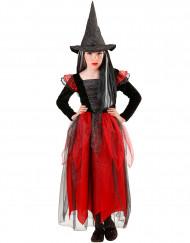 Disfarce bruxa preto e vermelho menina halloween