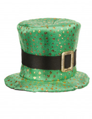 Chapéu alto São Patrício trevos dourados adulto