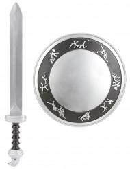 Kit de Gladiador espada e escudo para criança de plástico