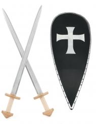 Kit de Cruzado para criança com Escudo e 2 Espadas