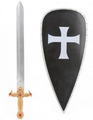 Kit de Cruzado para criança Escudo e Espada