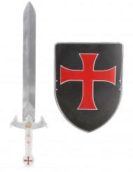 Kit de Cruzado para criança Escudo Preto e Espada
