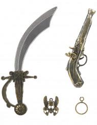 kit de pirata - Sabre pistola insignia e brinco para criança