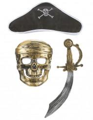 kit de pirata para criança - Sabre Chapéu e máscara