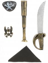 kit de pirata para criança - Sabre, Telescópio, Chapéu, Insignia e pala