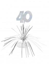 Centro de mesa 40 anos prateado