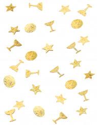 Trio de confetis dourados