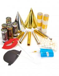 Kit de festa prata e ouro 6 pessoas com photobooth