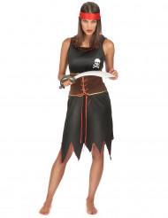 Disfarce de Pirata preto e castanho para mulher