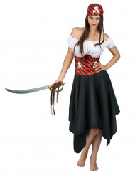 Disfarce de Pirata às riscas pretas e vermelhas para mulher