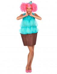 Disfarce de cupcake turquesa para mulher