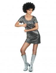 Disfarce Vestido Disco Prateado