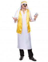 Disfarce de Cheikh árabe branco e amarelo para homem