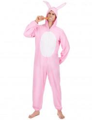 Disfarce de coelho cor-de-rosa para homem