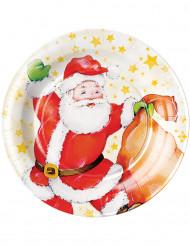 8 Pratos cartão Pai Natal 23 cm