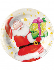 8 Pratos pequenos de cartão Pai Natal