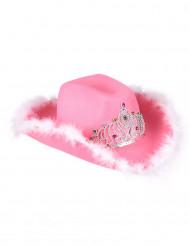 Chapéu de cowgirl rosa para mulher