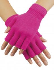 Mitenes curtas cor-de-rosa fluo adulto