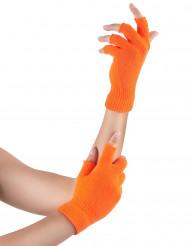 Mitenes curtas cor de laranja fluo adulto