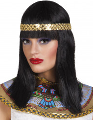 Peruca semi-longa com bandelete de rainha do Nilo