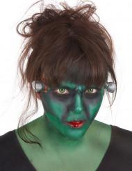 Kit maquilhagem monstro verde com lentes fantasia adulto