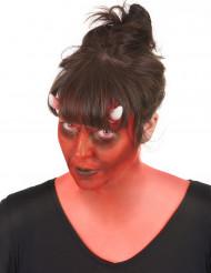 Kit maquilhagem demónio com lentes fantasia adulto Halloween