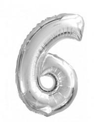 Balão de alumínio Número 6 prateado de 35 cm