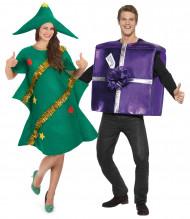 Disfarce de casal pinheiro e presente de Natal