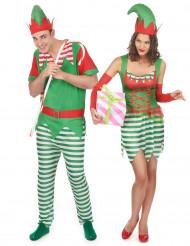 Disfarce de casal duendes de Natal adulto