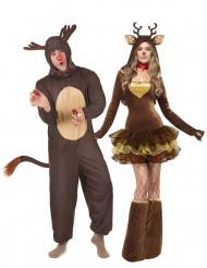 Disfarce de casal renas de Natal adulto
