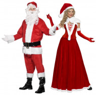 Disfarce de casal Mãe e Pai Natal luxo adulto