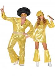 Disfarce de casal disco dourado