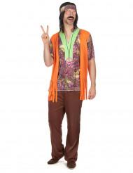 Disfarce hippie cor-de-rosa e castanho homem