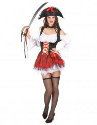 Disfarce pirata sexy branco e vermelho mulher