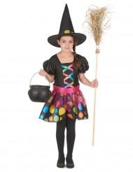 Disfarce bruxa colorida menina