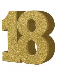 Decoração de mesa 18 anos dourada 20 x 20 cm