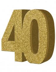 Decoração de mesa 40 anos dourado 20 x 20 cm
