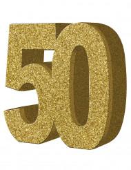 Decoração de mesa 50 anos dourado 20 x 20 cm