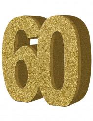Decoração de mesa 60 anos Dourado 20 x 20 cm